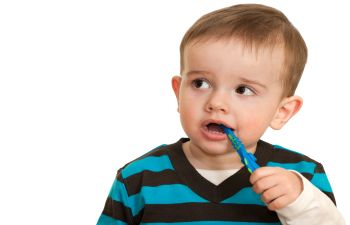 A baby with a toothbrush.