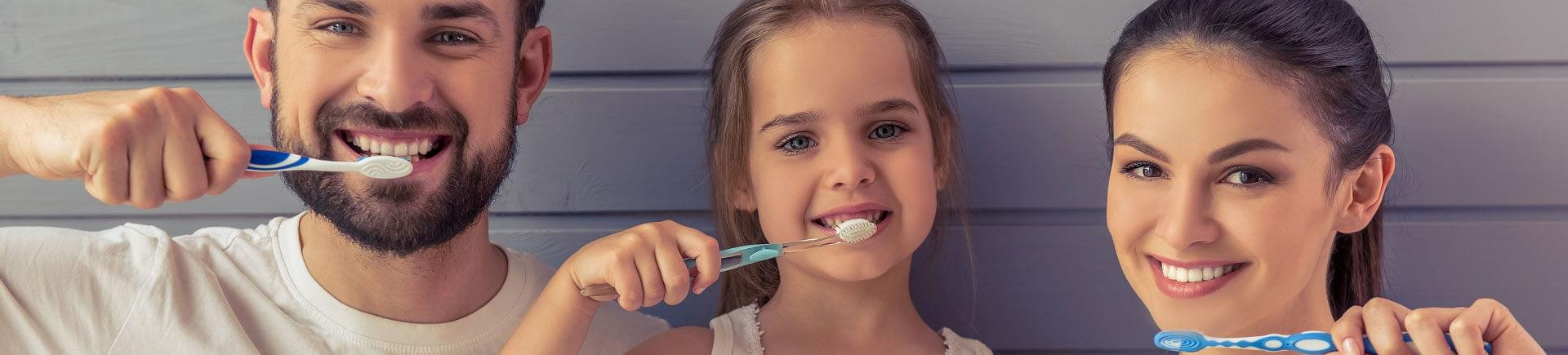 Parent and their little daughter having fun brushing their teeth.